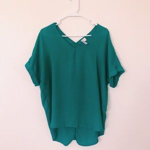 Teal V-Neck Blouse